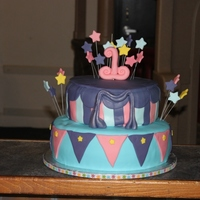 "Circus Themed 1St Birthday Bottom tier is 12"" vanilla bean cake with white chocolate ganache and raspberry curd. Top tier chocolate with cookies and cream icing..."
