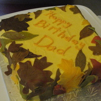 Dad's Birthday Cake square cake with fall leaves