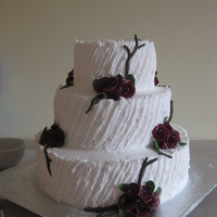 Friends Deep Red Roses Wedding Cake Deep red roses with branches and buttercream combed