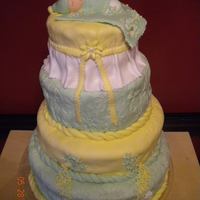 Baby Shower I made this fondant cake for my friend's Baby Shower...It's a lemon cake with (arequipe) something like caramel but it tastes...