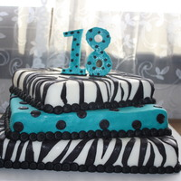 Teal And Black Zebra Cake BC fondant on all three tiers.