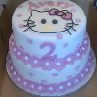 Hello Kitty Hello Kitty birthday cake. Tiers covered in bc fondant, gumpaste flowers, 2, and hello kitty.
