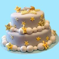 Sleeping On A Cloud   This cake was made for a friends baby shower. Inspiration from Wilton book. Everything is hand molded w fondant.