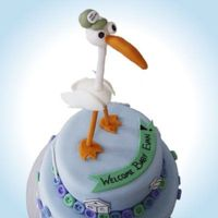 Stork Delivery   Made for a friends baby shower. The stork is hand molded fondant.