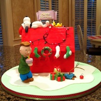 Snoopy cake for a birthday.i hand molded charlie, snoopy, snoppy's bird, the stockings, the wreath,the birthday sign,the presents, the tree,...