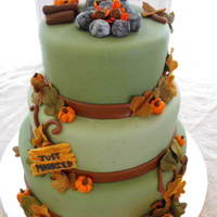 Campfire,autumn Wedding Cake My first wedding cake,The couple met at a campfire so they wanted it in there cake,I only had two weeks notice.Everything is made out of...