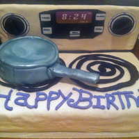 Stove Top Cake it was so hot the cake was falling apart and bubbling.. but it still came out ok