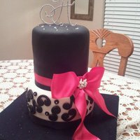 Black, White And Hot Pink Bridal Shower Cake Entirely Edible with exception of Crystal Monogram Topper, black and hot pink ribbon and pearl/crystal bow bling. Satin and tulle-covered...