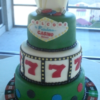 "Casino Charity Event Cake  Donated this cake to an event. 10"" 8"" & 6"" tiers 2 with vanilla wasc and 1 with key lime wasc with strawberry fillling...."