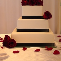 Classic Red Rose Wedding Cake