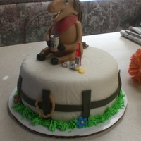 "Drunk Horse Cake This is a 6"" keylime cake with strawberry filling and keylime buttercream. Everything made of fondant except the beer can. It's a..."