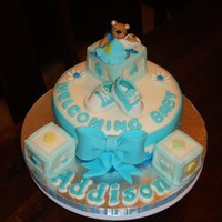 Blue And White. Blocks are made from Rice Krispies covered with White Chocolate Modelling n Fondant.