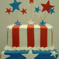 Happy 4Th Of July Yellow cake with butter cream icing. The accents are made of fondant or fondant/gumpaste mix. The white and blue background is smoothed...