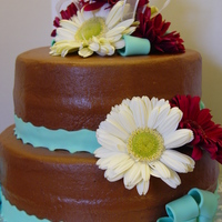 Wedding Shower My daughters wedding shower cake. It is chocolate cake covered and filled with chocolate buttercream. Fondant ribbon and fresh flowers.