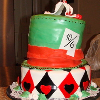 Mad Hatter Hat Cake   this was my first fondant cake,o my goosh it was realy hard to work on it.i hope you like it.