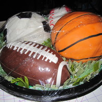 Sports Cakes Basketball, football, soccer and baseball cakes