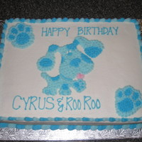 Blues Clues Birthday 11x15 yellow cake. All bc frosting and decorations. Blue and paw prints pictures were printed, then copied onto wax paper. Overlaid them on...