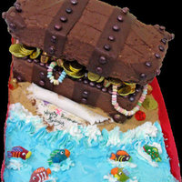 Treasure Chest Cake   chocolate buttercream icing, chocolate clay straps, lid is made of RKT