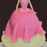 "Cinderella Cake  This is my daughter's 3rd birthday cake. She asked for a cake of ""Cinderella wearing her pink dress that the mice made before the..."