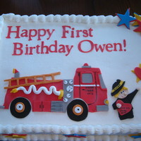Fire Engine 1St Birthday A cake for a friend of mine for her son's 1st birthday. Her brother recently passed away, and she wanted me to include him in the...