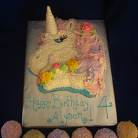 Unicorn Cake My 4 year old asked for a Unicorn cake at the last minute for her birthday cake (I was all ready to do Ariel). This is what I came up with...