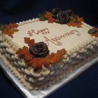 60Th Anniversary Cake For my friends' parents' 60th. She wanted something for fall...luckily the last time I made chocolate roses and autumn leaves, I...