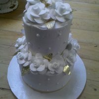 "Mini Two-Tier 50Th Anniversary Mini Two tier cake 7"" and 2"" all buttercream with gold leaves for a 50th Anniversary. TFL :)"