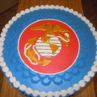 Lamberto's Marine Groom Cake 3 layer, 16 inch rounds covered in buttercream with fondant accents.