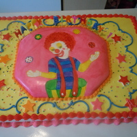 Circus Clown Cake 2 11x15 sheet cakes, used the leveled off top of one cake for the raised center section. Iced cake in buttercream made with butter flavored...