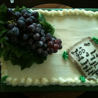 Grape Me.  Last minute, no direction cake for a person who doesn't celebrate his birthday but his assistant ordered him a cake anyways. He is a...