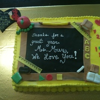 Teacher Cake  For a teacher at a DODS (South Korea-on base school).One of few first times making fondant decor. Found lots of inspiration here on CC! The...