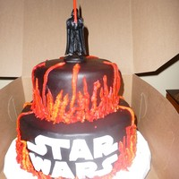"Star Wars- The Musical! Used design idea of others in the gallery. 6"" and 8"" black fondant with bc flames (red, yellow, and orange in same bag with leaf..."