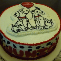 101 Dalmatians Cake My first FBCT. Was scared out of my mind, but it worked! Had to pipe the dalmatian spots in BC because I had some bad fondant that wouldn&#...