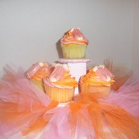 Pink & Orange Ballet Cupcakes The request was for cupcakes for a 3 yr old whose favorite colors were pink and orange and who loved ballet. Tutu on cupcake stand, and...