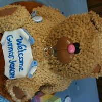 Baby Shower Cake For My Son And His Girlfriend  This is my take on the Ivory Bear Cake. It went together well but then it slid in the car and bent his ear and messed up some icing on the...
