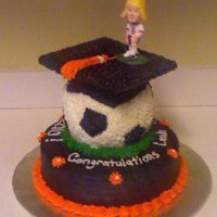 Soccer Themed Graduation Cake This cake was done for a graduation party. The graduate was an avid soccer player so I incorporated that into the cake.
