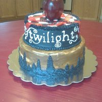 Twilight This cake was done for a Twilight fans birthday. She is a Team Jacob fan so I did the bottom tier to reflect the wolf.