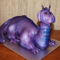 Purple Dragon Rice Crispy treat and cake dragon