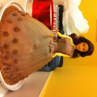 My First Doll Skirt is Caramel Pound Cake, covered in fondant