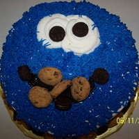Cookie Monster Yellow cake, pudding in the middle, bc icing, decorated with miniature oreo and chocolate chip cookies