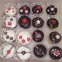 Black/white/red Bridal Shower Cupcakes Designed to go along with the invitations, which were black & white floral/vintage design with a dark red border.