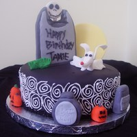 "Nightmare Before Christmas-Birthday Cake I made this cake for a friend-of-a-friend's birthday. Her favorite more is ""Nightmare Before Christmas"". I loved making/..."