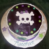 """girly Skull & Stars"" Birthday Cake The very first cake I ever sold! Made for a friend who loves skulls & stars (just like me!) Told me to use all colors EXCEPT PINK!!..."