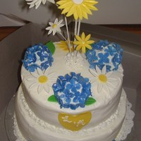Blue Hydrangeas/yellow & White Daisies Lemon cake w/ homemade raspberry & bc icing filling for 50 people. Made for my friend's bridal shower to match her wedding colors...