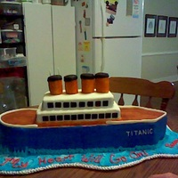 Cake For Prom The theme for prom this year is My Heart Will Go On ....sooooooo a titanic cake was ordered...this cake is 27 inches long, 8 inches wide...