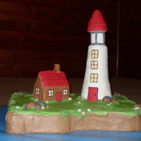 Lighthouse And Cottage Cake