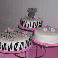 Sweet 16 Party, May 2009 This was my first 3 tiered cake. The party was a safari theme and the zebra print was requested, as was the fondant elephant (which was a...