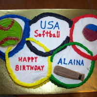 "Olympic Softball Cake, August 2008 The Olympic rings are made of 1-layer 6"" cakes; three chocolate and two vanilla, carved to fit together like the rings. The whole..."