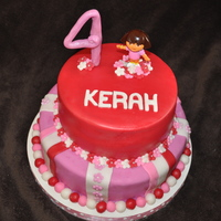 Dora The Explorer Strawberry cake with cream cheese filling.