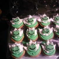 Froggie Cupcakes Vanilla cupcakes, with lemon buttercream icing. Froggies are made out of buttercream!